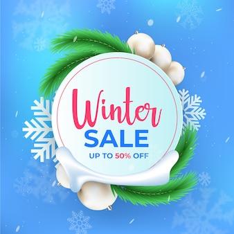 Venda de inverno realista com oferta especial