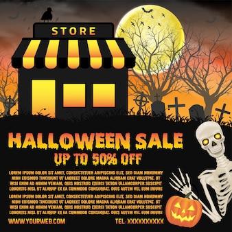 Venda de loja de halloween com banner de cemitério