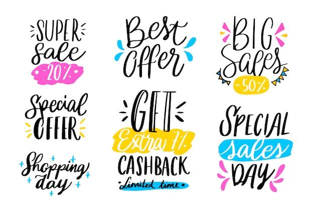 Venda de mão desenhada lettering coleção