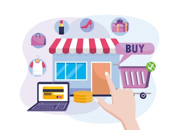 Venda de mercado digital com tecnologia de comércio eletrônico portátil e carrinho de compras