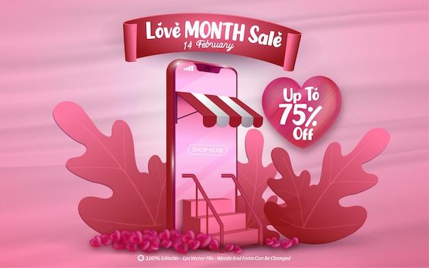 Venda de mês de amor com banner editável do dia dos namorados com telefone