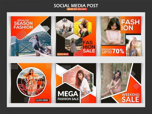 Venda de moda banner post de mídia social