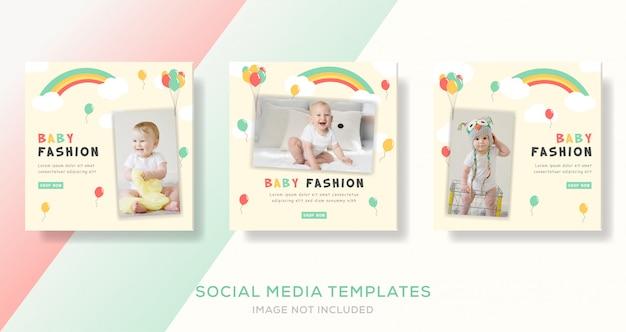 Venda de moda bebê loja roupas banners modelo post.