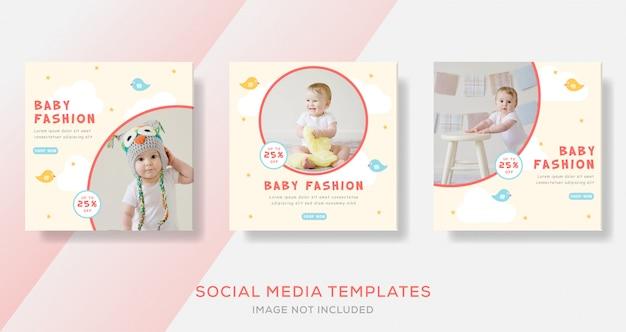 Venda de moda bebê para mídia social postar modelo de banner