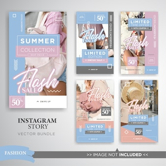 Venda de moda de verão instagram histórias conjunto