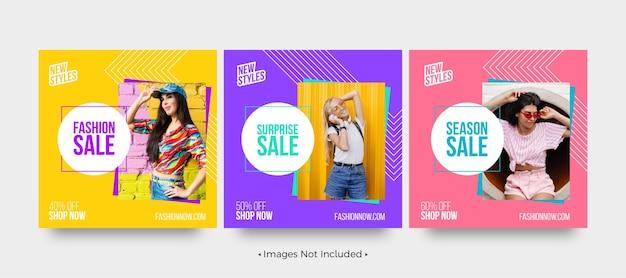 Venda de moda oferece modelos de postagem em mídia social