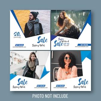 Venda de moda social e banners web