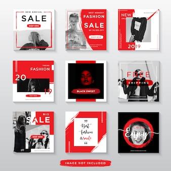 Venda de moda vermelha para modelo de postagem de mídia social