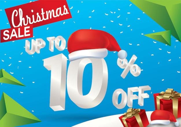 Venda de natal 10 por cento. fundo de venda de inverno com texto de gelo 3d com chapéu de papai noel ba