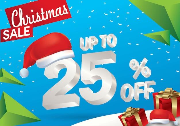 Venda de natal 25 por cento. fundo de venda de inverno com texto de gelo 3d com chapéu de papai noel
