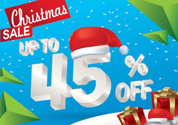 Venda de natal 45 por cento. fundo de venda de inverno com texto de gelo 3d com chapéu de papai noel