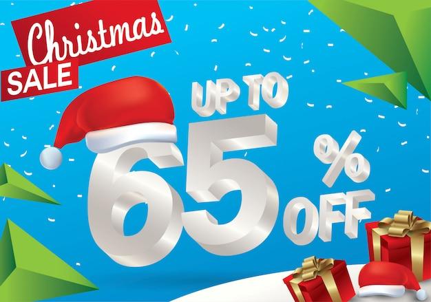 Venda de natal 65 por cento. fundo de venda de inverno com texto de gelo 3d com chapéu de papai noel