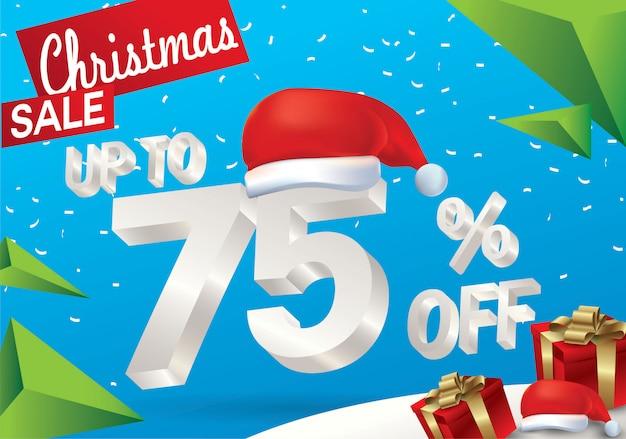 Venda de natal 75 por cento. fundo de venda de inverno com texto de gelo 3d com chapéu de papai noel