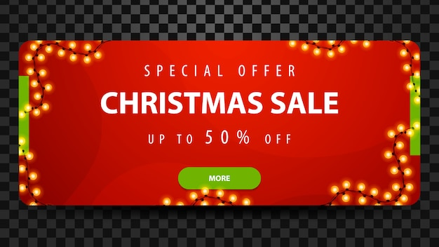 Venda de natal, até 50% de desconto, banner web horizontal moderno brilhante vermelho com botão e guirlanda