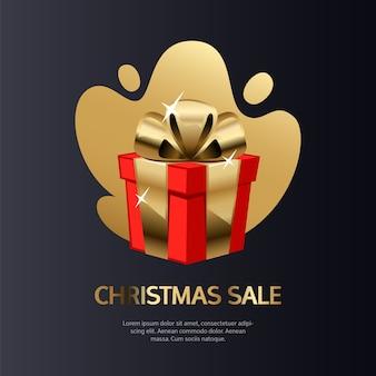 Venda de natal cartão de ouro