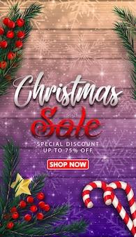 Venda de natal com banner de fita vermelha realista e caixas de presente.
