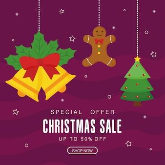 Venda de natal com design de gengibre e sinos de pinheiro, tema de oferta de natal.