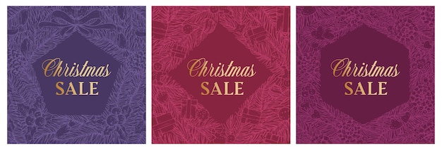 Venda de natal desconto mão desenhada sketch pinho ou coroa de abeto, banner ou conjunto de modelos de cartão. promoção abstrata de férias