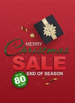 Venda de natal e modelos de desconto sazonal, banner. grande venda, liberação até 80% de desconto. modelo de banner de venda