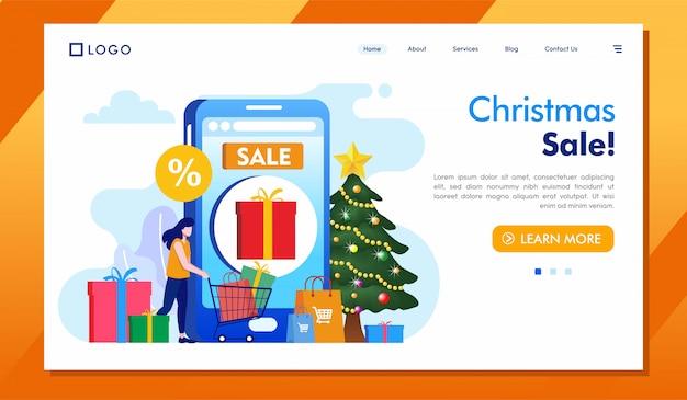 Venda de natal landing page site ilustração vector
