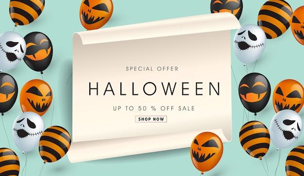 Venda de oferta especial de banner de halloween feliz.