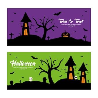Venda de oferta especial de halloween com casas e design de abóbora, compre agora e tema de comércio eletrônico.