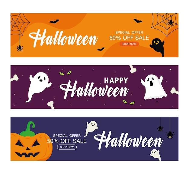 Venda de oferta especial de halloween com fantasmas e design de abóbora, compre agora e tema de comércio eletrônico.
