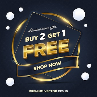 Venda de ouro azul escuro abstrato oferta por tempo limitado compre 2 1 tag design grátis