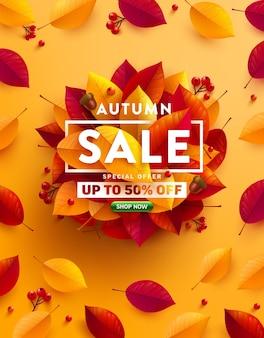 Venda de outono 50% de desconto em pôster ou banner com folhas coloridas de outono em amarelo