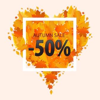 Venda de outono 50% de desconto. ilustração vetorial