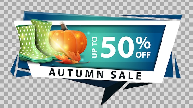 Venda de outono, banner de desconto web em estilo geométrico com botas de borracha e abóbora