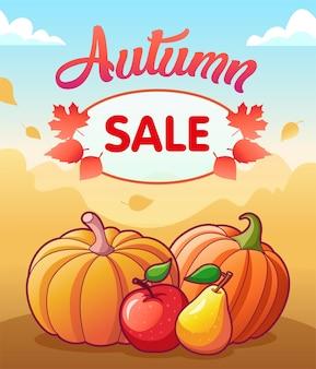 Venda de outono. banner de vetor com legumes e frutas. duas abóboras, maçã e pêra. folhas de outono