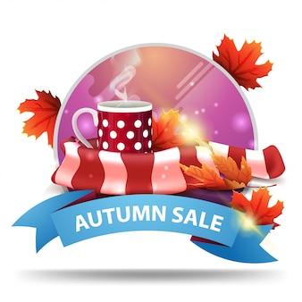 Venda de outono, banner de web clicável desconto redondo com fita