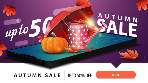 Venda de outono, banner de web com desconto moderno com um smartphone