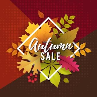 Venda de outono com design de modelo de cartaz de folhas de outono