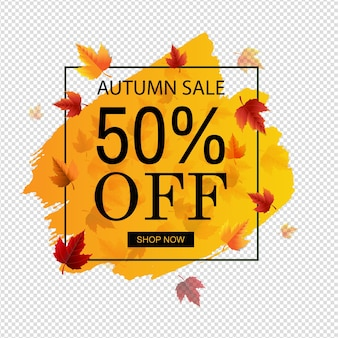 Venda de outono com fundo transparente laranja