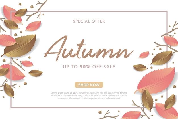 Venda de outono com ramo e fundo de folha
