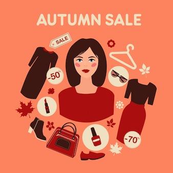 Venda de outono comercial em design plano com mulher