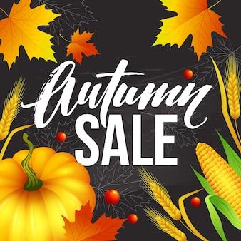 Venda de outono de banner de design. design de cartaz de outono com abóbora, folhas e espigas. ilustração vetorial eps10
