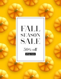 Venda de outono de banner de design. design de cartaz de outono no padrão sem emenda de abóbora. ilustração vetorial eps10