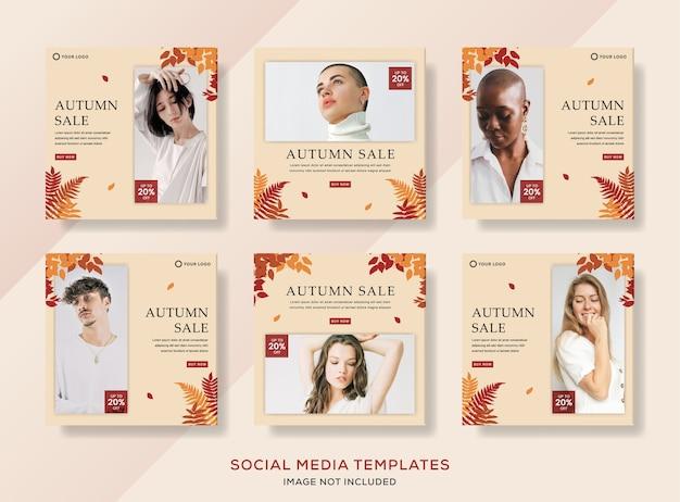 Venda de outono definir modelo de banner para postagem de mídia social.