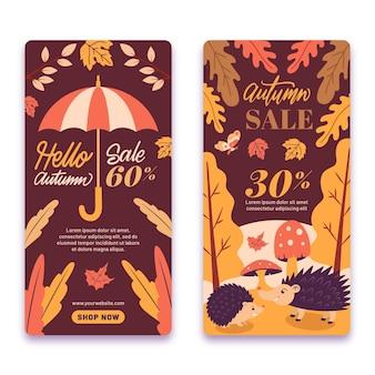 Venda de outono design plano com oferta