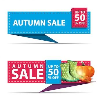 Venda de outono, dois banners de desconto horizontal na forma de uma fita