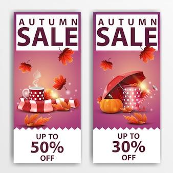Venda de outono, dois banners verticais de desconto \