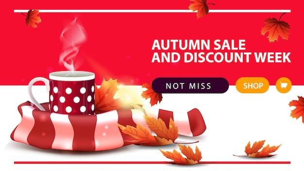 Venda de outono e semana de desconto, banner horizontal web desconto