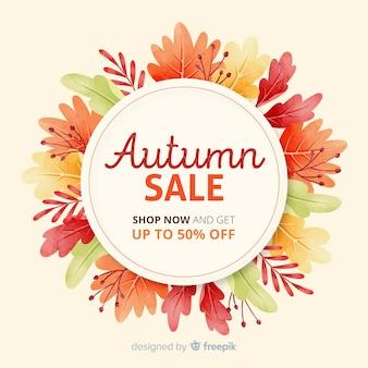Venda de outono em aquarela com folhas secas