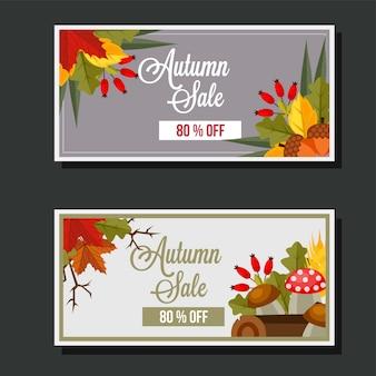 Venda de outono estilo plano deixa cogumelo banner