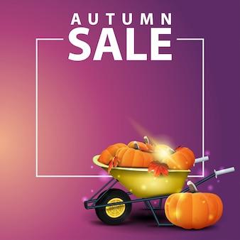 Venda de outono, fundo quadrado para o seu site com carrinho de jardim