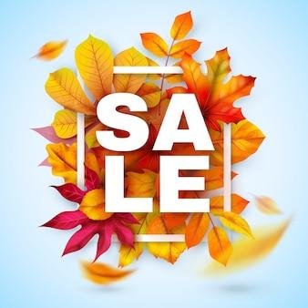 Venda de outono. promoção de outono sazonal com folhas realistas vermelhas e amarelas. oferta de desconto de outubro de ação de graças. banner da temporada outonal para varejo de marketing especial