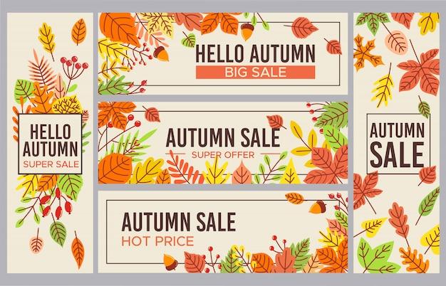 Venda de outono s. conjunto de banner de promoção de vendas temporada outono, desconto de temporadas e cartaz outonal com folhas caídas
